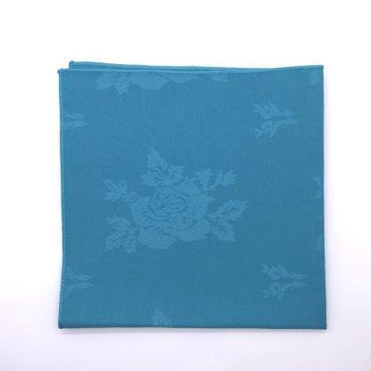 Aqua Coloured Linen Napkin With Rose Pattern
