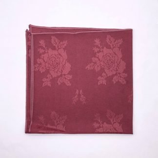 Burgundy Coloured Linen Napkin With Rose Pattern