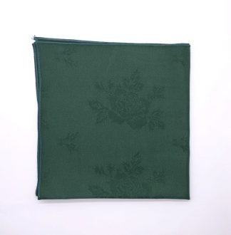 Forest Green Coloured Linen Napkin With Rose Pattern
