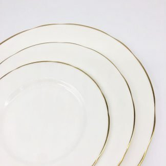 White Bone China Scalloped With Gold Edge