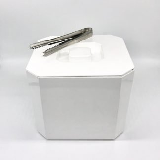 Ice Bucket & Tongs White