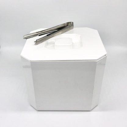 Ice Bucket & Tongs White