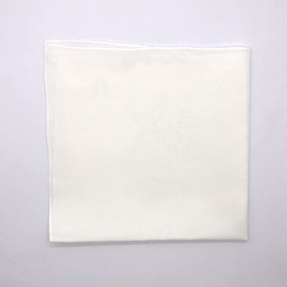 White Linen Napkin With Rose Pattern