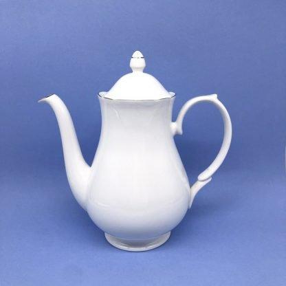 Silver Edge China Coffee Pot
