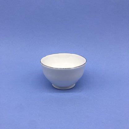 Silver Edge China Sugar Bowl