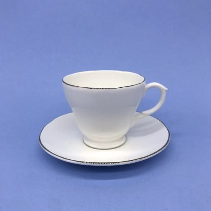 Silver Edge China Tea Cup