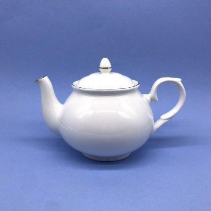 Silver Edge China Tea Pot