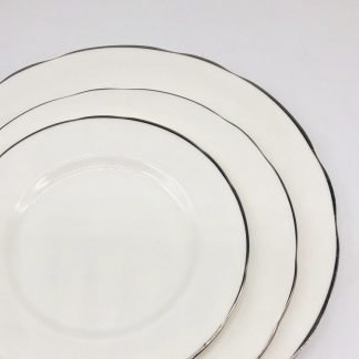 White Bone China Scalloped With Silver Edge