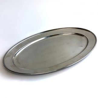 Stainless Steel Oval Flat Salver 24 Inch