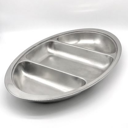 Stainless Steel Oval Veg Dish 3 Div 20 Inch