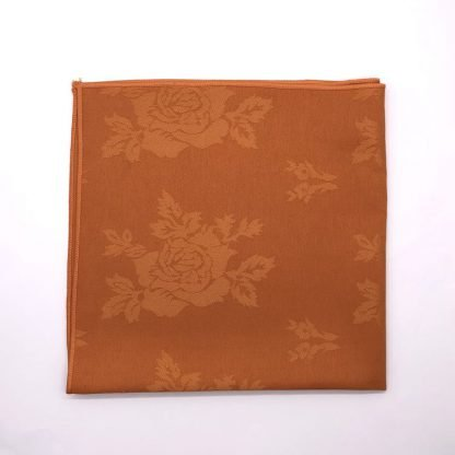 Tango Coloured Linen Napkin With Rose Pattern