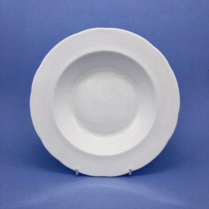 White Bone China Rimmed Soup Bowl