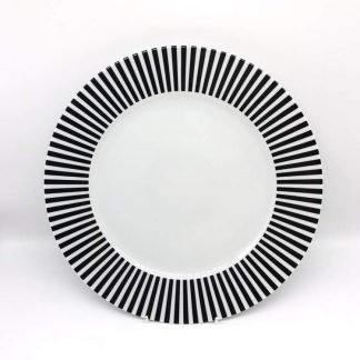 White Plate With Black White Rim