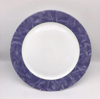 White Plate With Mauve Rim