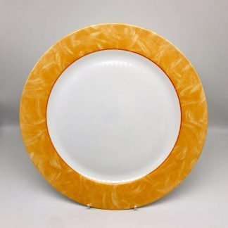 White Plate With Peach Rim
